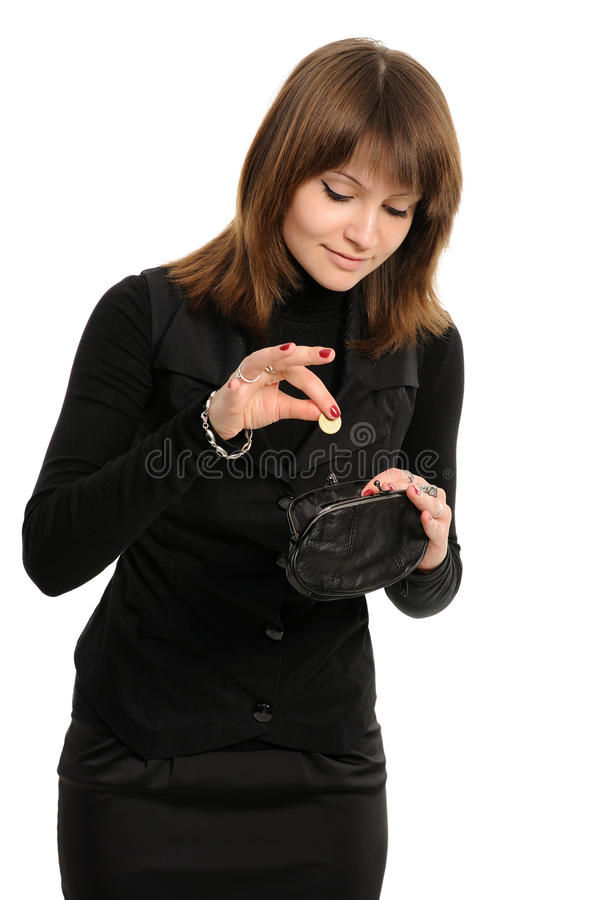 Mujer con el monedero y el dinero fotografía de archivo libre de regalías