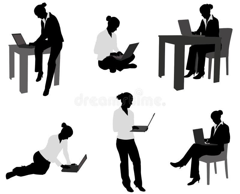 Mujer con el ordenador portátil libre illustration