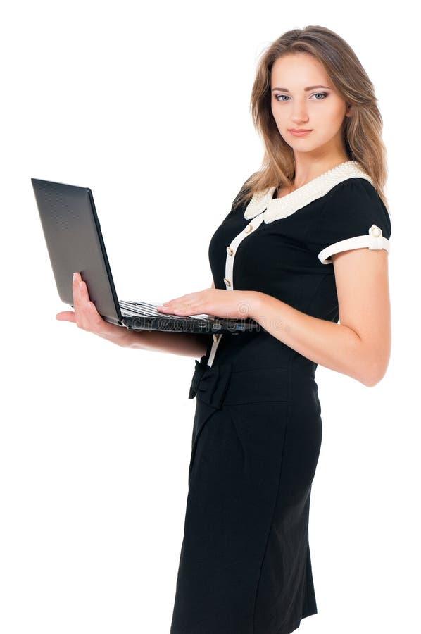 Mujer con el ordenador portátil fotos de archivo libres de regalías