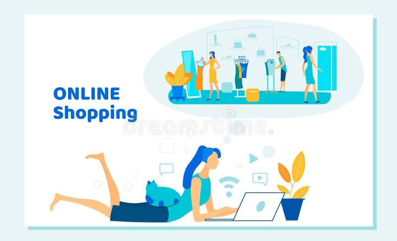 Mujer con el ordenador portátil en las manos que hacen compras en línea ilustración del vector