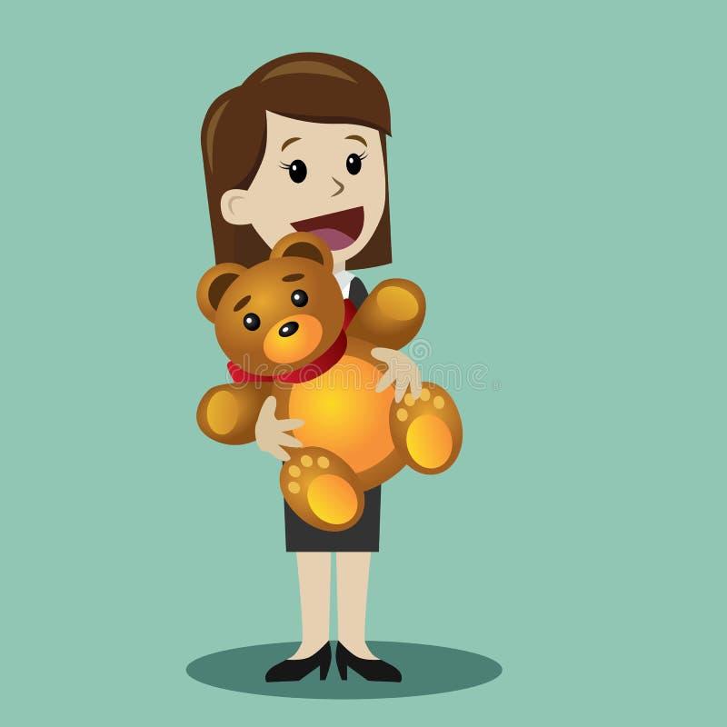Mujer con el oso de peluche Día feliz de Valentains Día para mujer internacional del 8 de marzo feliz Regalo de Birhday Elemento  ilustración del vector