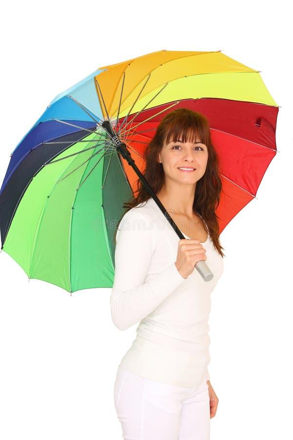 Mujer con el paraguas imagenes de archivo