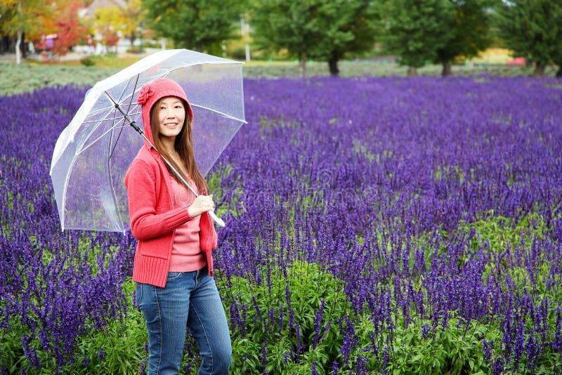 Mujer con el paraguas en la granja de la lavanda de Tomita, Hokkaido imagen de archivo libre de regalías