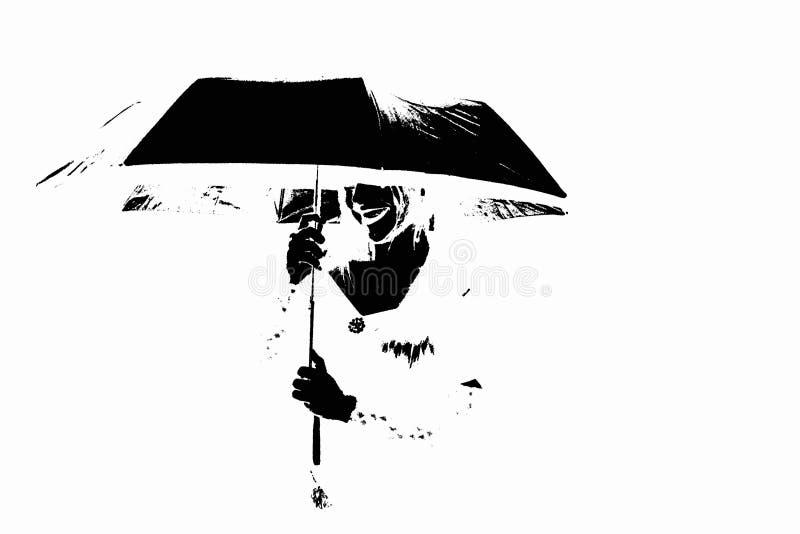 Mujer con el paraguas, forma monocratic con el fondo blanco fotografía de archivo