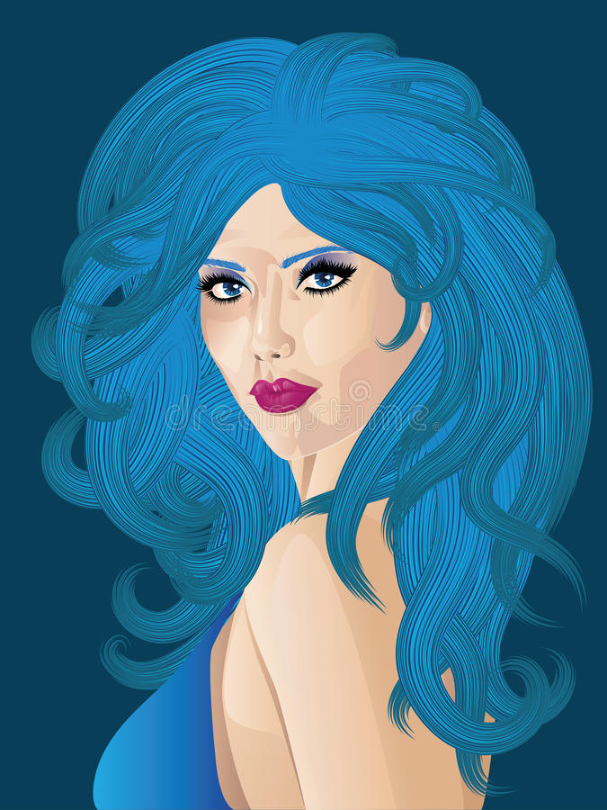 Mujer con el pelo azul stock de ilustración