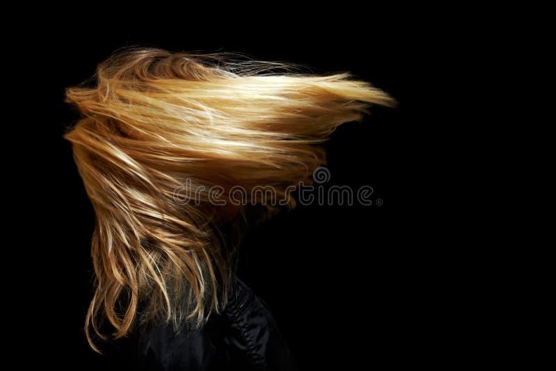 Mujer con el pelo largo en viento fotografía de archivo libre de regalías