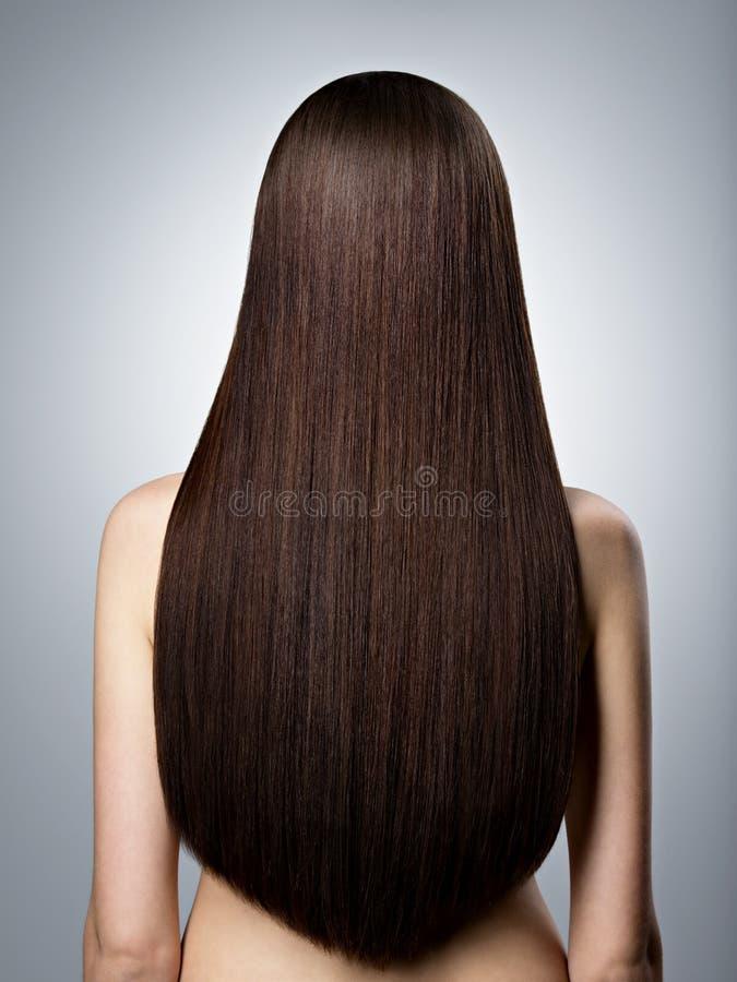 Mujer con el pelo recto marrón largo Visión trasera foto de archivo libre de regalías