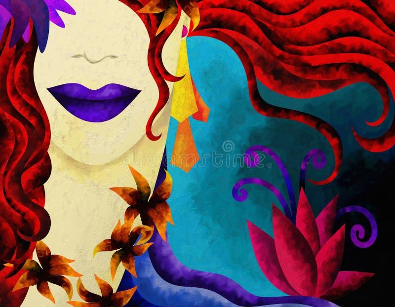 Mujer con el pelo rojo ilustración del vector