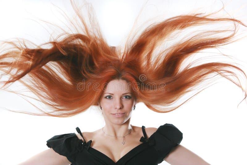Mujer con el pelo rojo hermoso fotografía de archivo