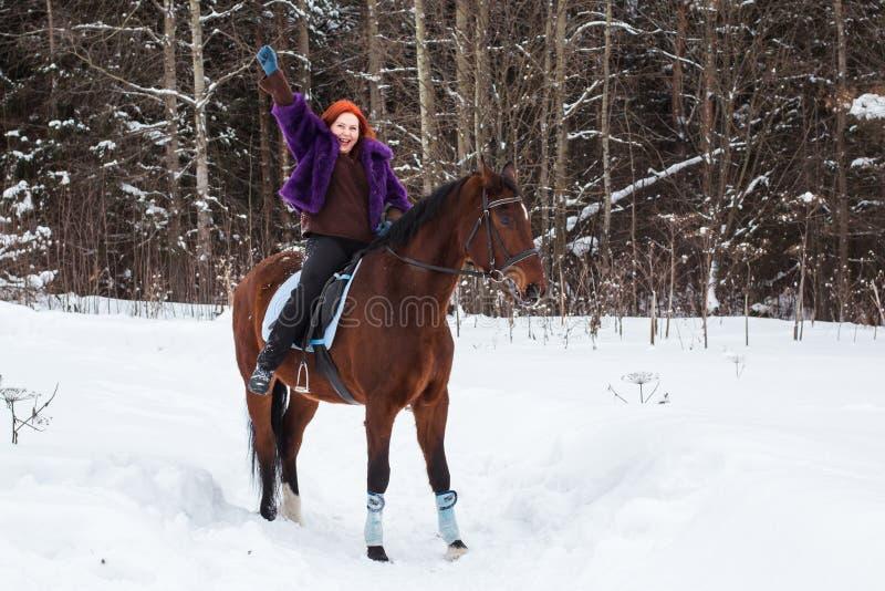 Mujer con el pelo rojo y el caballo grande al aire libre en invierno imagenes de archivo