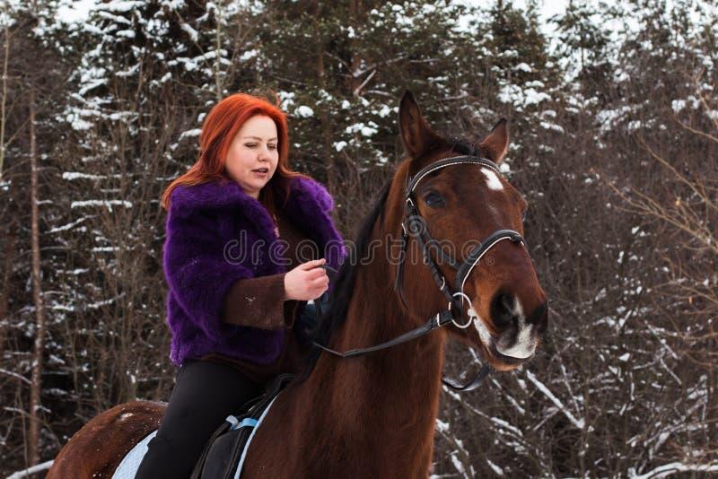 Mujer con el pelo rojo y el caballo grande al aire libre en invierno foto de archivo libre de regalías