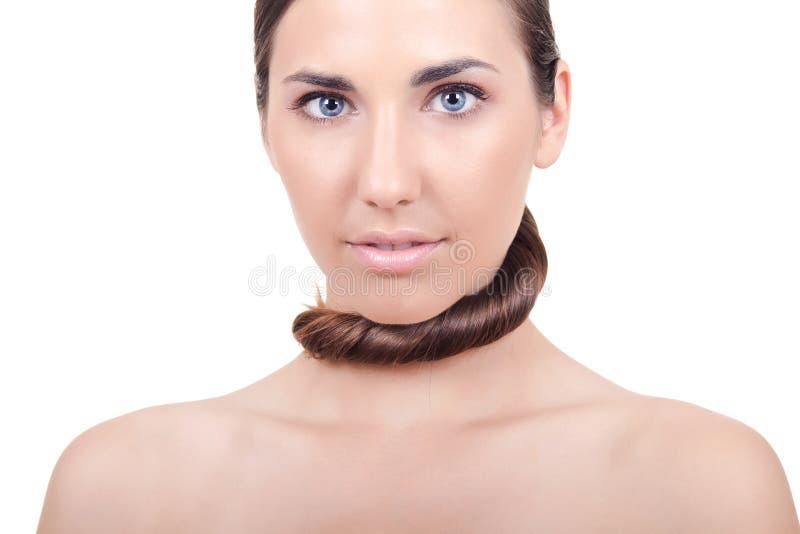 Mujer con el pelo sedoso fotos de archivo