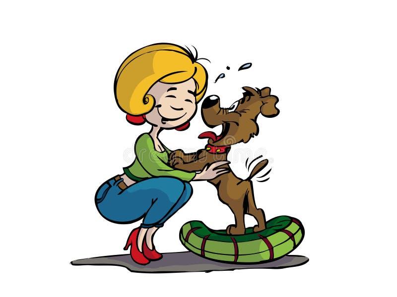 Mujer con el perro libre illustration