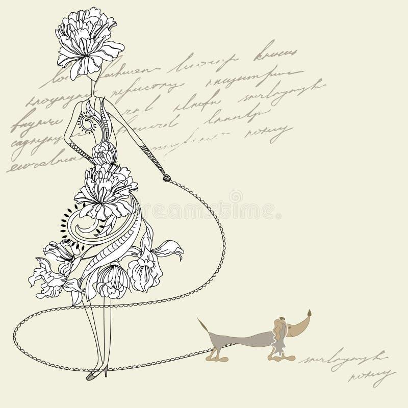 Mujer con el perro stock de ilustración