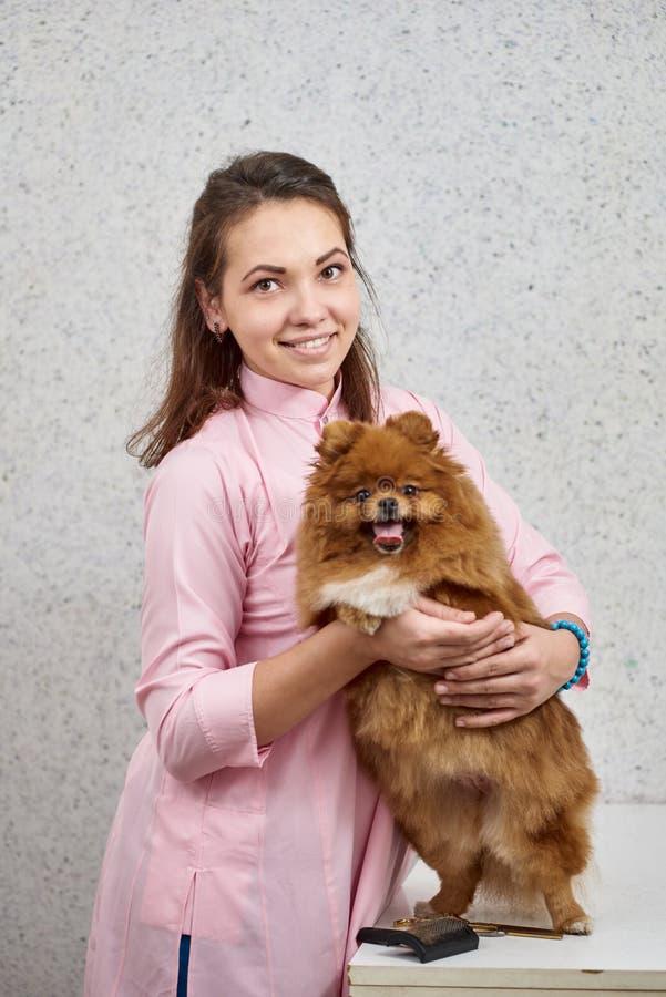 Mujer con el perro de Pomerania pomeranian fotografía de archivo