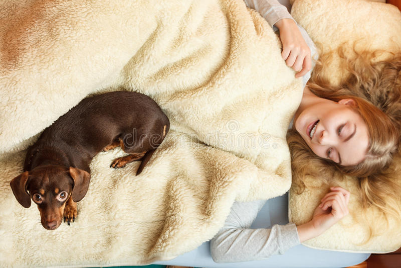 Mujer con el perro que despierta en cama después de dormir foto de archivo