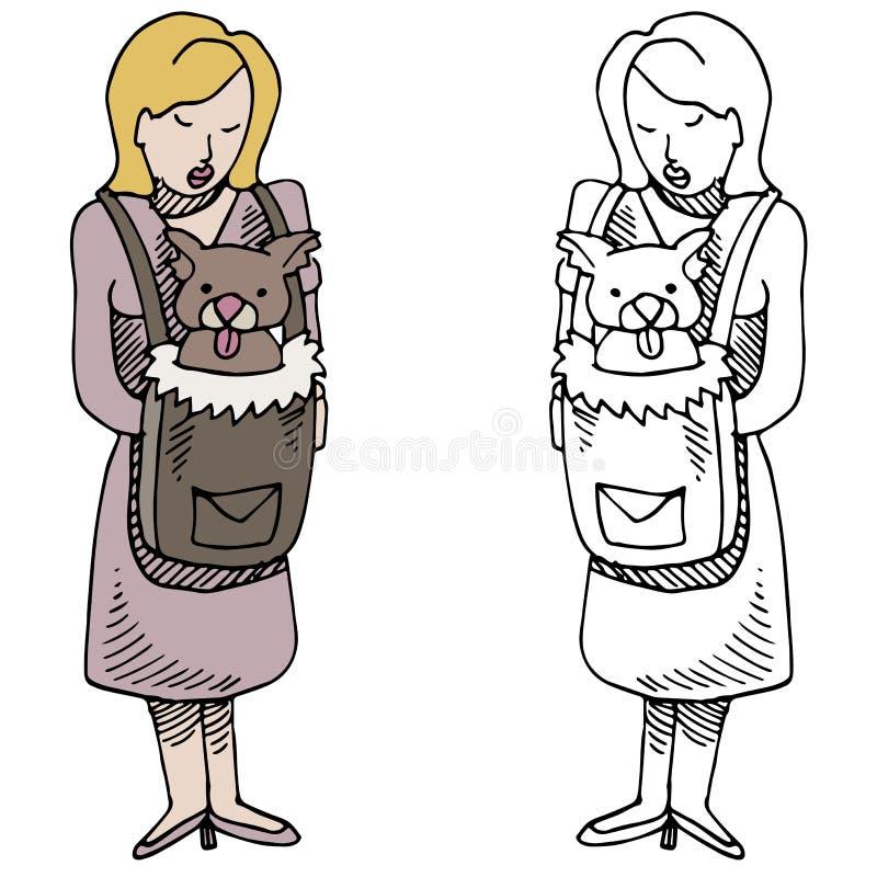 Mujer con el portador del animal doméstico ilustración del vector