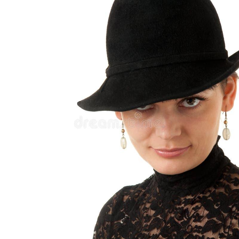 Mujer con el sombrero fotos de archivo