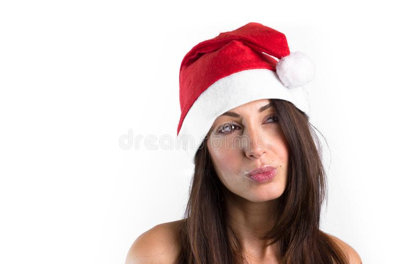Mujer con el sombrero de Santa Claus imagen de archivo