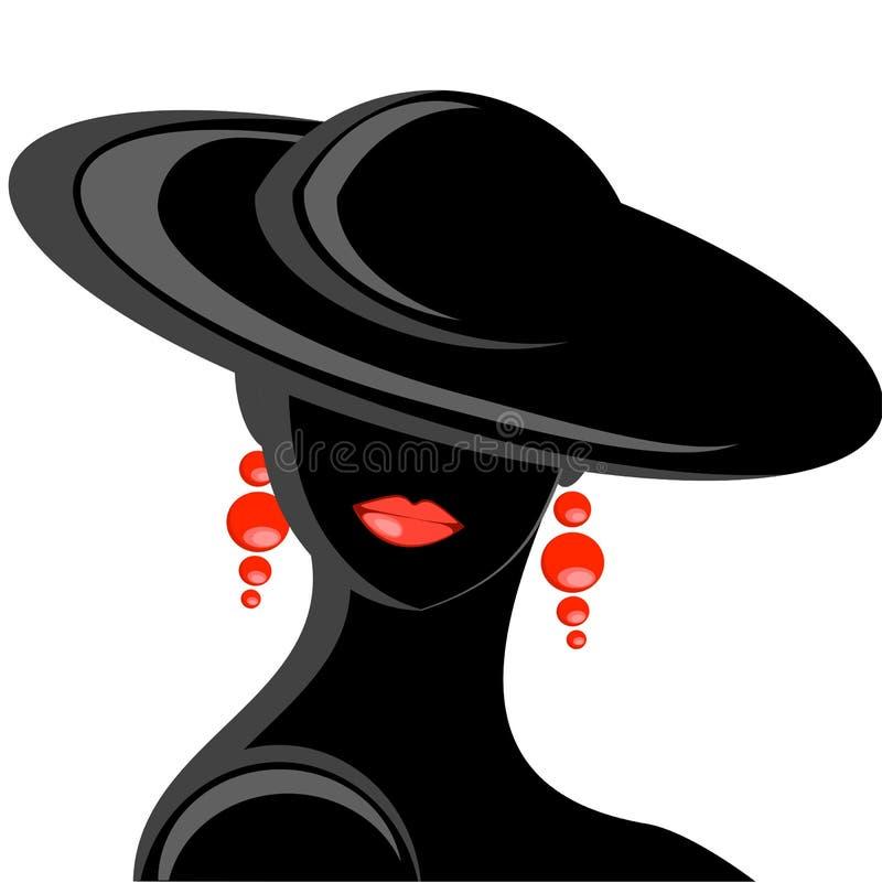 Mujer con el sombrero negro ilustración del vector