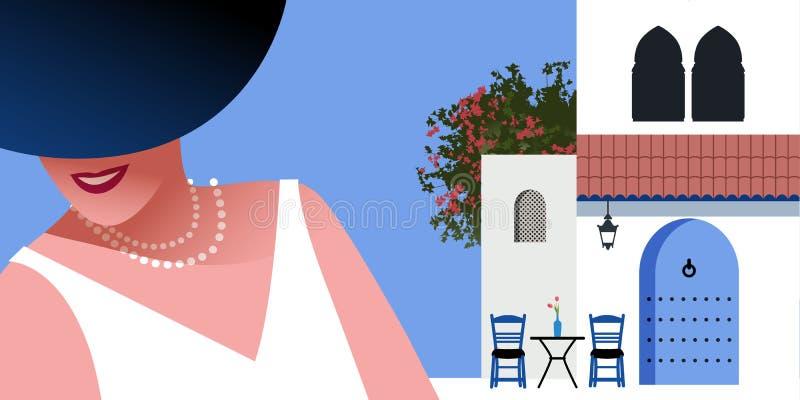 Mujer con el sombrero y el collar azules de las perlas, en fondo del pueblo mediterráneo del estilo típico de Marruecos stock de ilustración