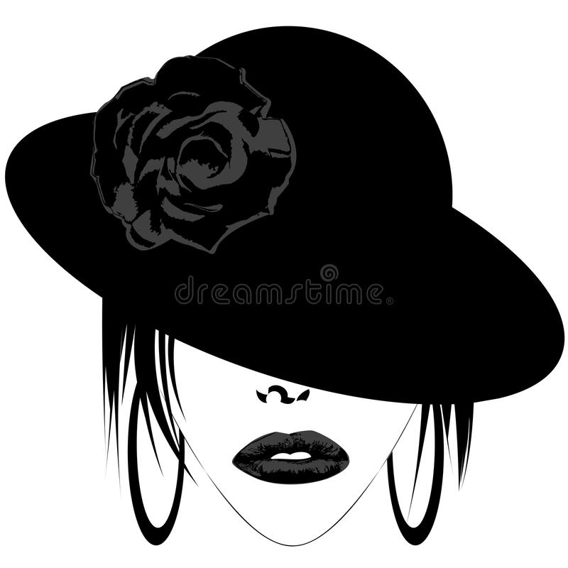 Mujer con el sombrero y los pendientes stock de ilustración