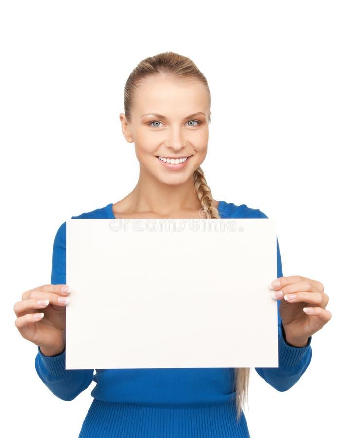 Mujer con el tablero en blanco imágenes de archivo libres de regalías