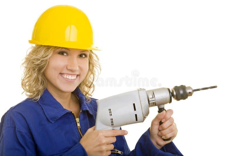 Download Mujer con el taladro foto de archivo. Imagen de contenido - 7287704