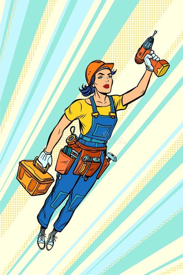 Mujer con el taladro, la reparación y la construcción Vuelo del super héroe stock de ilustración