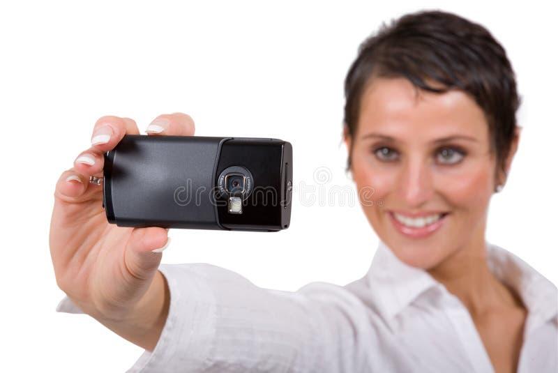 Mujer con el teléfono celular fotos de archivo libres de regalías