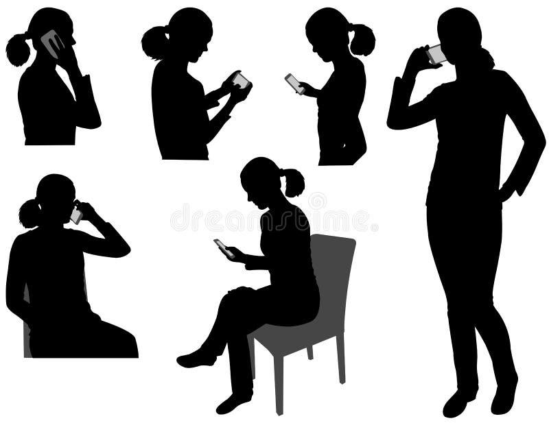 Mujer con el teléfono celular stock de ilustración