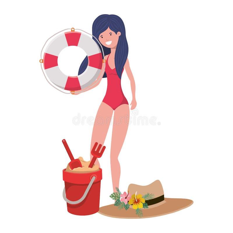 Mujer con el traje de baño y el flotador salvavidas en el fondo blanco libre illustration
