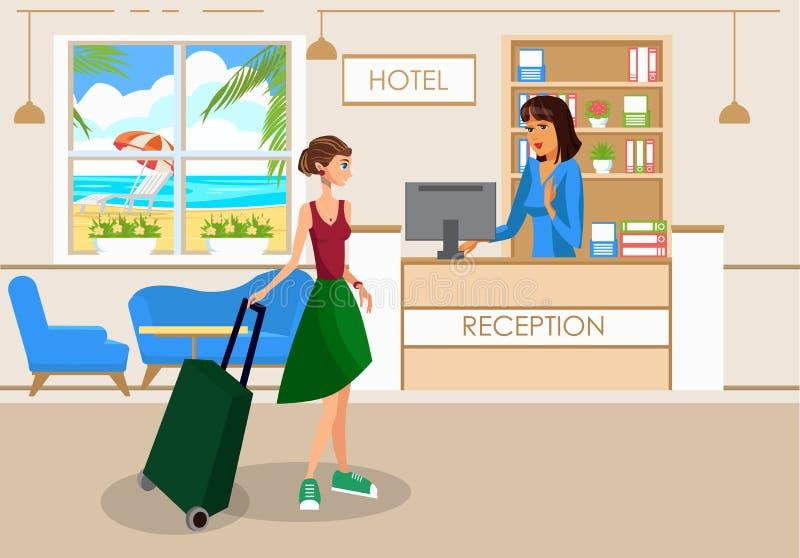 Mujer con equipaje en el dibujo del vector del pasillo del hotel stock de ilustración