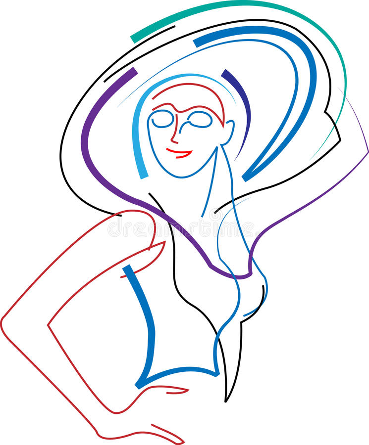 Mujer con estilo con el sombrero libre illustration