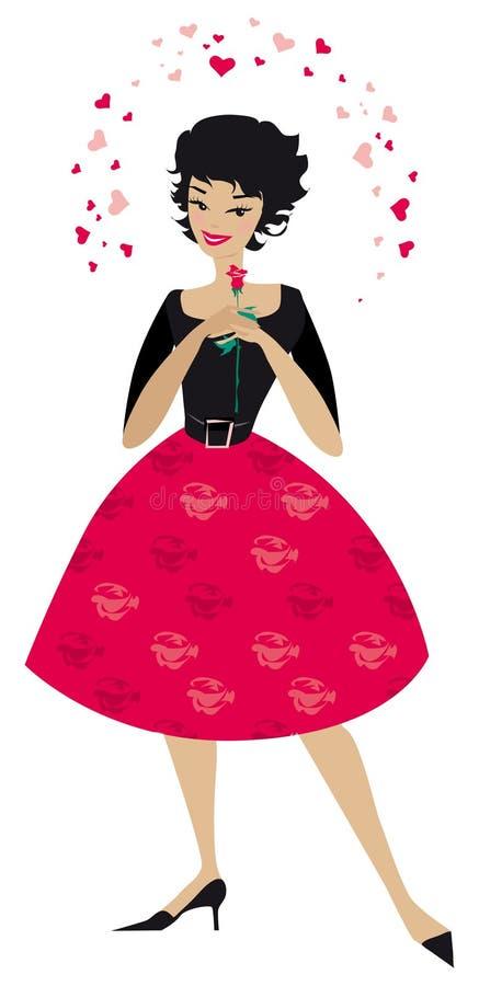 Mujer con estilo en amor ilustración del vector