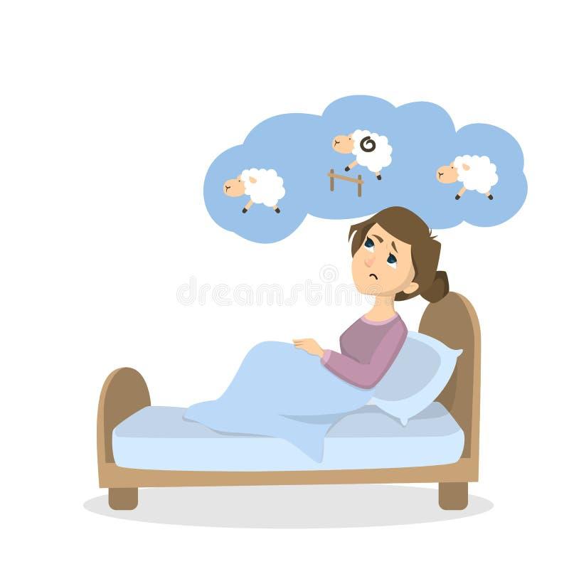 Mujer con insomnio stock de ilustración