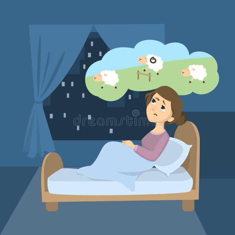 Mujer con insomnio libre illustration
