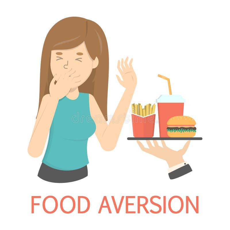 Mujer con la aversión o el trastorno alimentario de la comida ilustración del vector