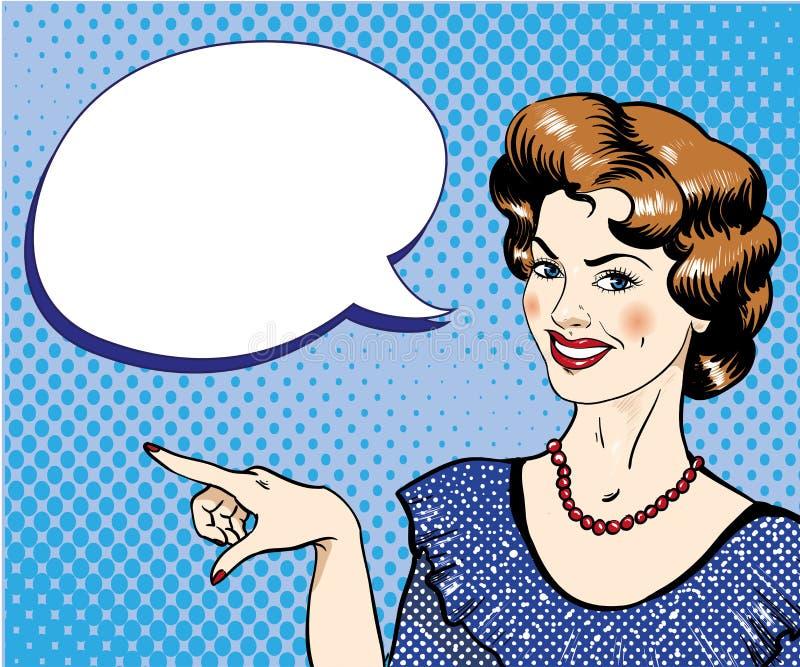 Mujer con la burbuja del discurso que señala el ejemplo del vector del finger en estilo cómico retro del arte pop ilustración del vector