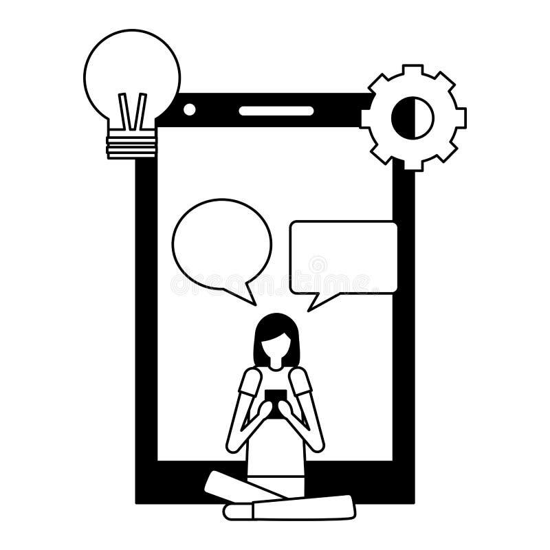 Mujer con la burbuja móvil del discurso que se sienta stock de ilustración