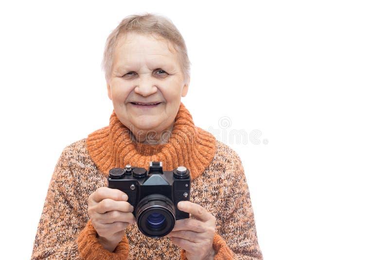 Mujer con la cámara imágenes de archivo libres de regalías