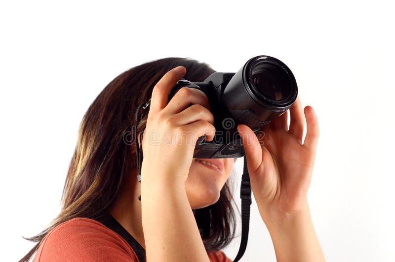 Mujer con la cámara #5 foto de archivo