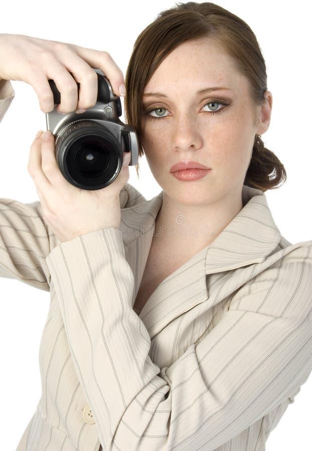 Mujer con la cámara imagen de archivo libre de regalías