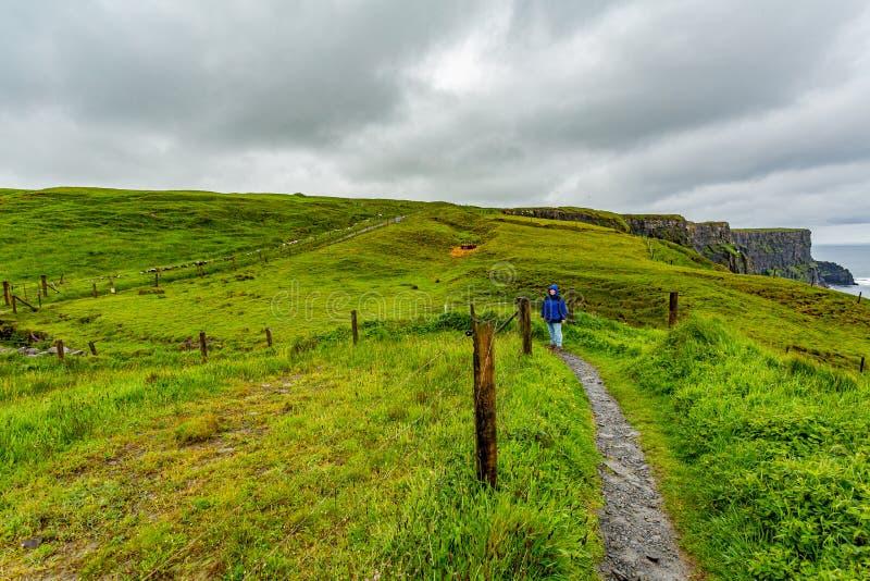Mujer con la chaqueta azul que camina de Doolin a los acantilados de Moher a lo largo de la ruta costera del paseo fotografía de archivo libre de regalías