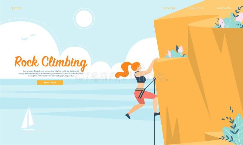 Mujer con la escalada del equipo de la cuerda y de deportes ilustración del vector