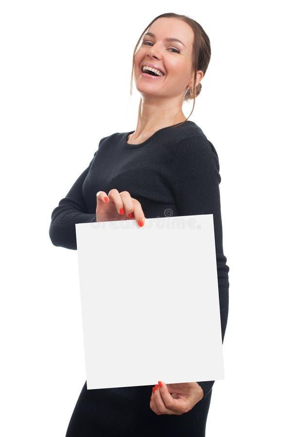 Mujer con la hoja en blanco del Libro Blanco fotografía de archivo libre de regalías