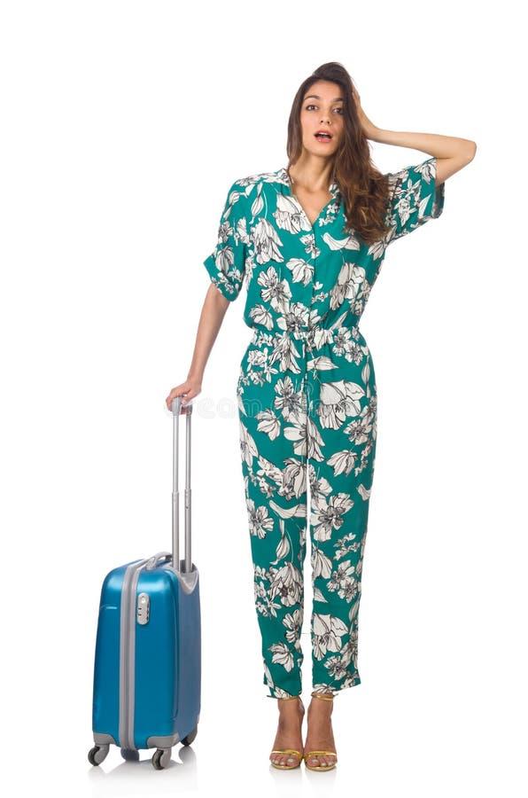 Mujer con la maleta imágenes de archivo libres de regalías