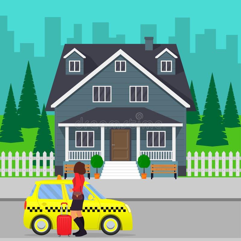 Mujer con la maleta fuera del taxi o el conseguir en un taxi en la calle de la ciudad cerca de casa privada Ilustración del vecto ilustración del vector
