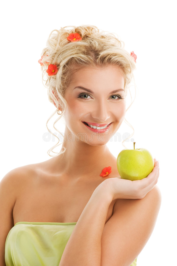 Mujer con la manzana verde madura imagen de archivo
