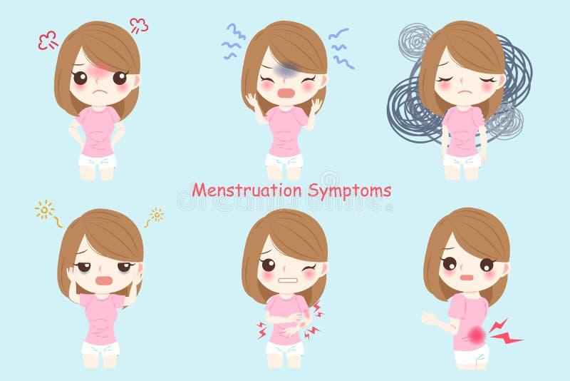 Mujer con la menstruación ilustración del vector